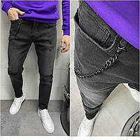Мужские джинсовые потертые штаны черного цвета (черные) зауженные, мужские джинсы с латками Турция