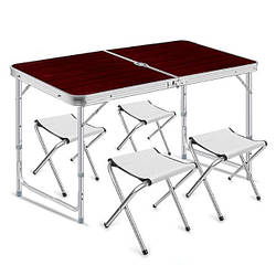 Стол для пикника раскладной Folding Table, 4 стула, темное дерево