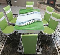 Распродажа! Обеденный Комплект  раскладной стол из стекла и 6 стульев Металлический каркас Турция