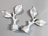 Карниз для штор металлический ЛИСТ ТРОЯНДЫ двойной 25+19мм 2.4м Белое золото, фото 2