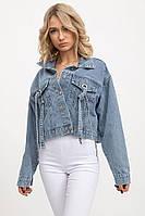 Джинсовая укороченная куртка 118069 голубая oversize
