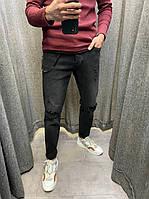 Мужские джинсовые штаны черного цвета (черные) зауженные, модные мужские джинсы больших размеров Турция