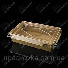 Упаковка из КРАФТОВОЙ бумаги с прозрачной крышкой 153*100*40 мм, 50 шт/уп
