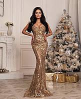 Шикарное платье в пол из люкс пайетки