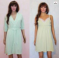 Комплект жіночий одяг халат і нічна мереживо оливковий 44-58р.