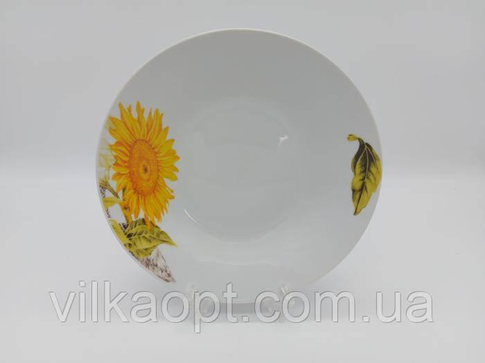 Тарелка глубокая столовая керамическая Подсолнух белая цветная для супа Миска для первых блюд суповая 550 мл