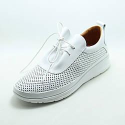 Белые кожаные женские кроссовки (сникеры) La Pinta 0110-300Y White перфорация