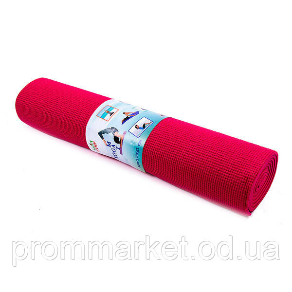 Йогамат, коврик для фитнеса, GreenCamp, 6мм, PVC, чехол, красный