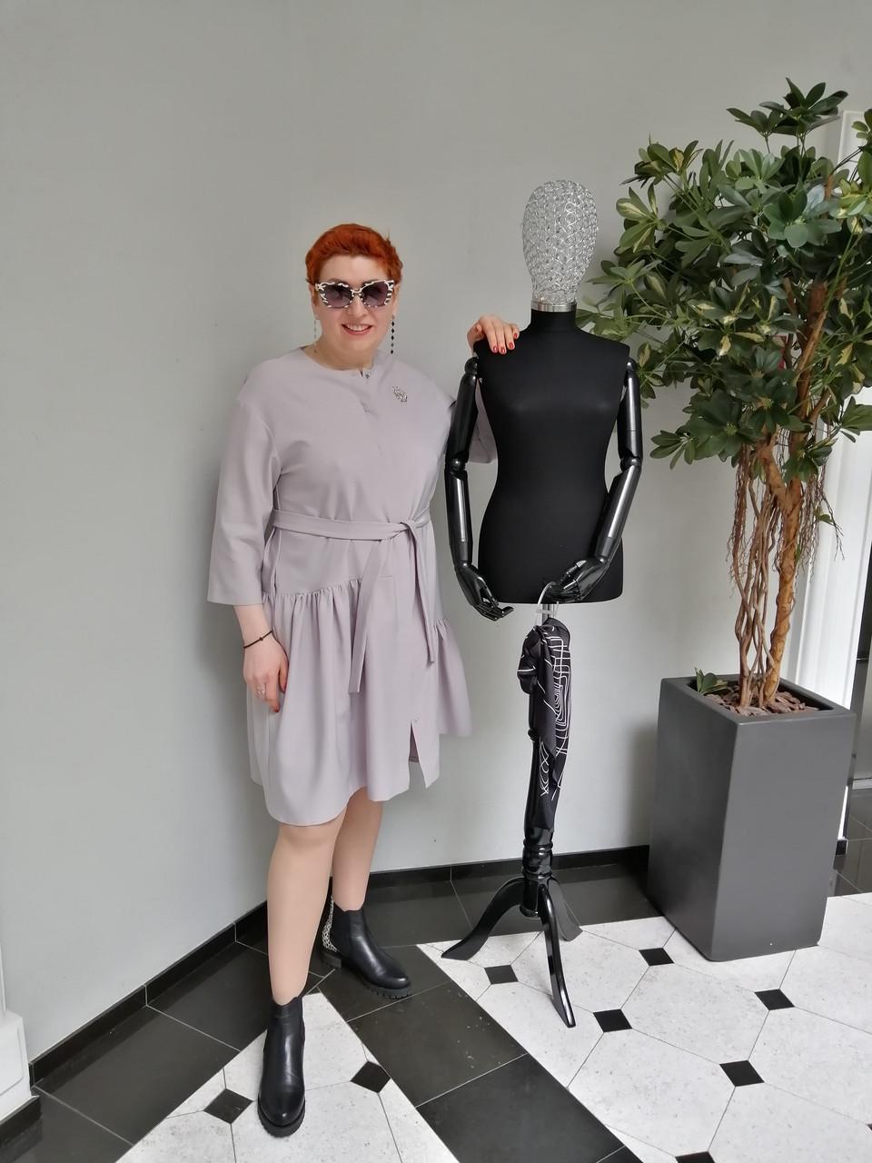 Платье женское Барби серое ADRESS MKAD6759