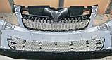 Декоративно-защитная сетка радиатора Skoda Fabia II  фальшрадиаторная решетка, бампер, фото 3