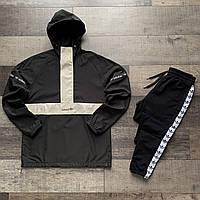 Черный мужской спортивный костюм Adidas | Черный мужской анорак Adidas + штаны Adidas