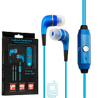Наушники с микрофоном GLOW lighted earphone синие