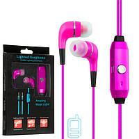 Наушники с микрофоном GLOW lighted earphone розовые