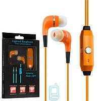 Наушники с микрофоном GLOW lighted earphone оранжевые