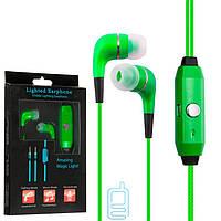 Наушники с микрофоном GLOW lighted earphone зеленые