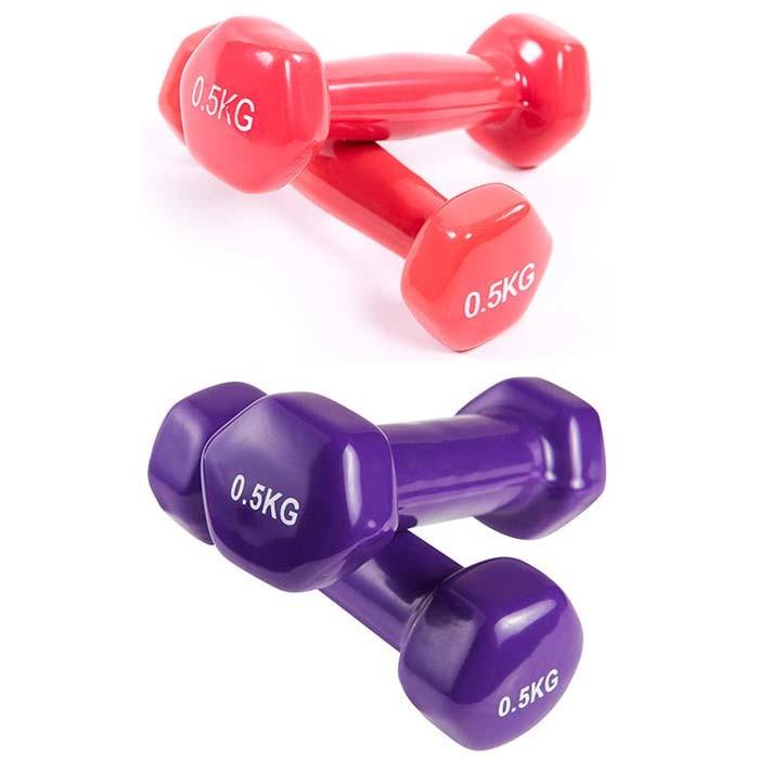 Гантели для фитнеса, винил, 0,5 кг х 2 шт