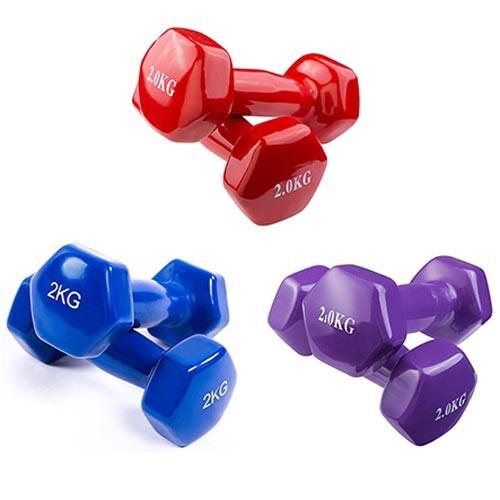 Гантели для фитнеса, винил, 2 кг х 2 шт.