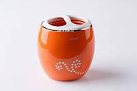 Подставка (стакан) для зубных щеток оранжевый