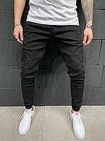 Мужские джинсовые штаны черного цвета (черные), мужские однотонные джинсы зауженные Турция