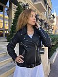 Куртка жіноча натуральна *ADAMO*, шкіра теляча преміум, розмір С,М,Л,ХЛ,білий,чорний колір, фото 10