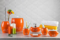 """Набор аксессуаров для ванной """"Маисон"""" оранжевый 6 предметов керамический, фото 1"""