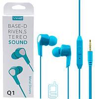 Наушники с микрофоном Sonic Sound Q1 голубые