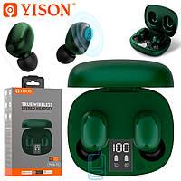 Bluetooth наушники с микрофоном Yison TWS-T4 зеленые