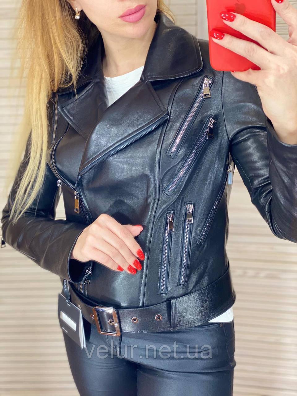 Куртка жіноча натуральна *ADAMO*, шкіра теляча преміум, розмір С,М,Л,ХЛ,білий,чорний колір