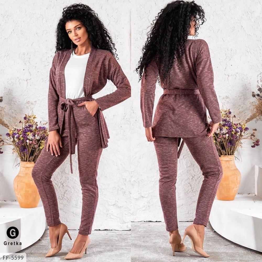 Прогулянковий костюм трійка жіночий стильний з кардіганом, облягаючі штани-лосини і біла кофта арт. 5604