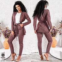 Прогулянковий костюм трійка жіночий стильний з кардіганом, облягаючі штани-лосини і біла кофта арт. 5604, фото 1