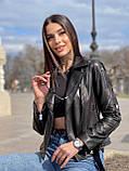 Куртка жіноча натуральна *ADAMO*, шкіра теляча преміум, розмір С,М,Л,ХЛ,білий,чорний колір, фото 4