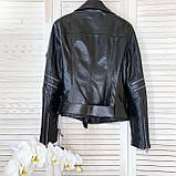 Куртка женская натуральная *ADAMO*, кожа телячья премиум, размеры С,М,Л,ХЛ,белый,черный цвет, фото 6