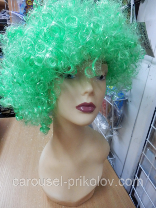 Парик карнавальний кучерявий зелений