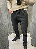 Мужские джинсовые штаны черного цвета (черные), мужские однотонные джинсы зауженные к низу Турция