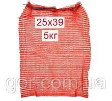 Сітка пакувальна овочева (р25х39) 5кг червона з ручкою (100 шт)