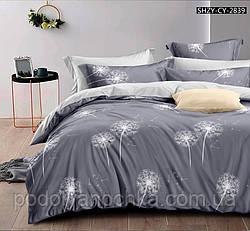 Двоспальний комплект з сатину Сірі кульбабки