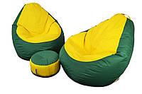 Два кресла Оксфорд + пуфик улик в подарок L, Зеленый, Желтый