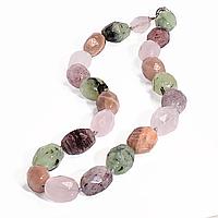 Намисто з самоцвітів гірського кришталю, мелодита, пренита, місячного каменю Індійського і рожевого кварцу, 967БСЦ, фото 1