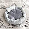 Лежак для котов собак круглый с двусторонней подушкой бархатный, фото 9