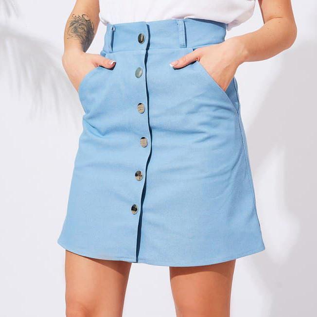 Женская джинсовая юбка на кнопках
