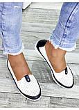 Жіночі шкіряні мокасини білі літо, фото 4