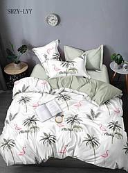 Двоспальний комплект з сатину Фламінго і пальми