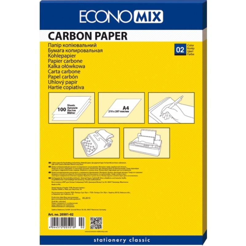 Копіювальний папір А4, E20501-02 синя 100л.