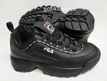 Кроссовки  Fila женские черные на массивной подошве