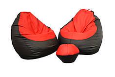 Два кресла Оксфорд + пуфик улик в подарок L, Черный, Красный