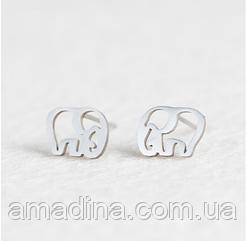 Женские серьги гвоздики слоники, серьги маленькие из нержавеющей стали серебро