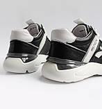 Чоловічі шкіряні кросівки чорні, фото 2