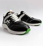 Чоловічі шкіряні кросівки чорні, фото 4