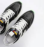 Чоловічі шкіряні кросівки чорні, фото 5