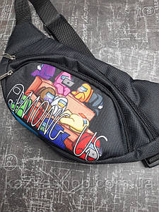 Стильная бананка с вставкой логотипа Among Us (реплика), барыжка, сумка на пояс, тканевая